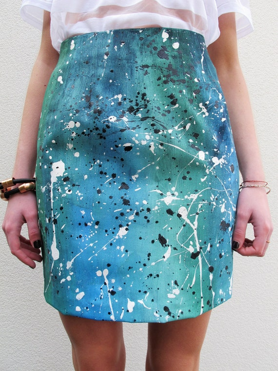 Items similar to paint splatter skirt on etsy for Paint on clothes