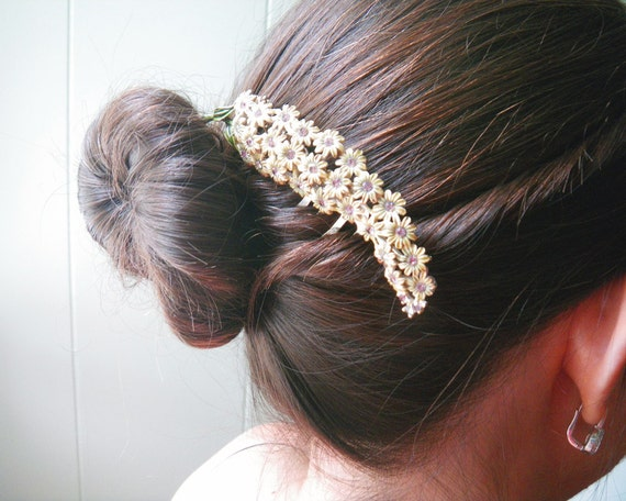 Vintage bridal hair comb - flower rhinestone and enamel brooch-wedding or special event