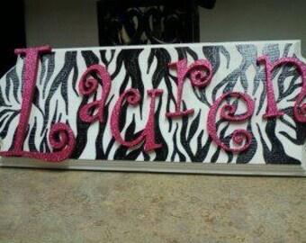Personalized Zebra Print Sign