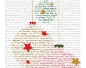 Many Merries Holiday Cards, 24 Pack, 6 of 4 Designs with blank white envelope in a clear plastic box.