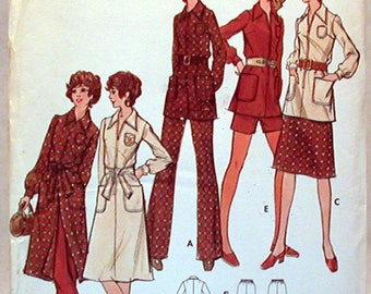 Vintage Butterick Pattern 6360 Sz. 12 1/2 NOS Half Size and Women's Dress, Top, Skirt, Pants and Shorts