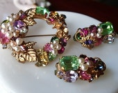 Vintage Austrian Crystal Brooch and Earrings Set - Fruit Salad and Pearl Circle Pin Demi Parure