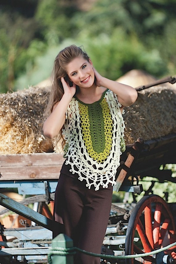 Multigreen crochet gilet