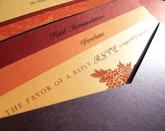 Pocket Fold Wedding Invitation - Jewel Tones - shown in deep purple, Fall oranges and reds (5x7)