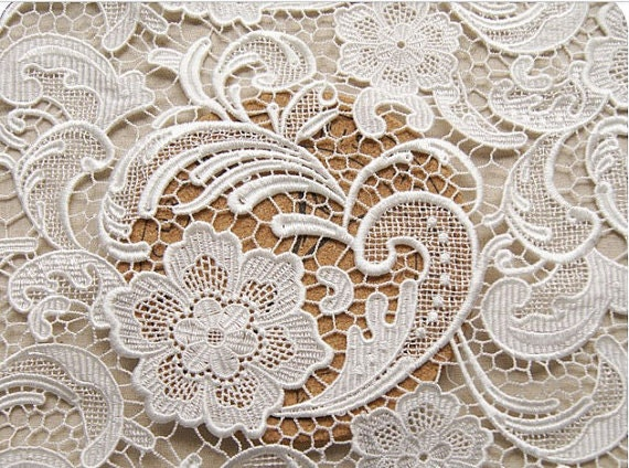off white Lace Fabric, chic lace, crocheted lace, venise lace, bridal ...