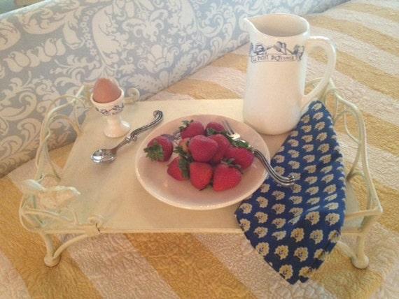 Cream-Colored Enamel French Breakfast Tray