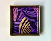 The Mulberry - Tiny Square Decorative Tray / Catchall (Gold & Purple)