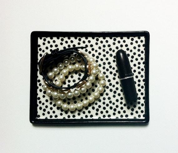 The Coco - Small Jewelry Organizer / Tray (White & Black Polka Dot)