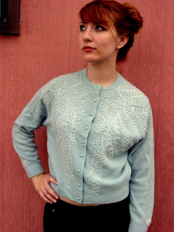 Bead Me Blue (vintage 50s cardigan sweater, light blue faux pearls beads angora lambs wool japan handmade 60s)