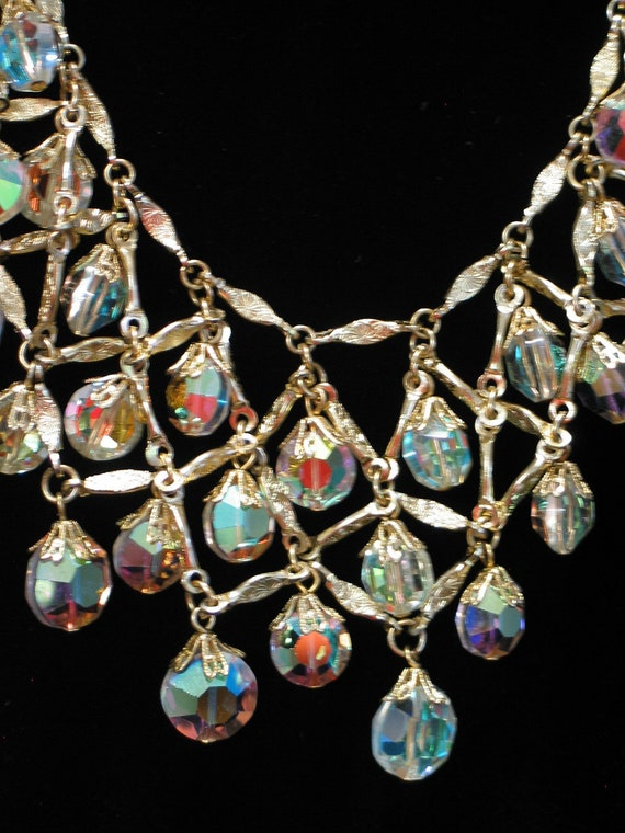 Vintage Necklace, Vintage Chic Iridescent Crystal Collar-type Necklace, Vintage Art Deco Necklace & Earring Set
