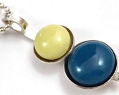 Banana yellow and Ocean Blue fused glass cabochon and sterling silver Pendant