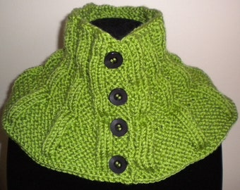 Knit SCARFLETTE /Neck Warmer PATTERN- Button up
