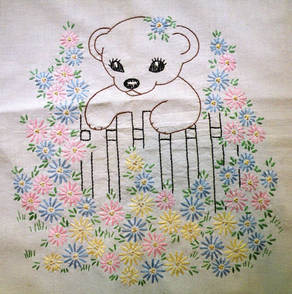 Vintage embroidery 1940s 50's animal/ teddy bear
