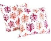 Throw Pillow Cushion Covers Trees Mignon. Red. Orange. White. Set of 2. 16 x 16