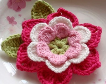 Crochet Flower With Leaves in 3 inches YH-001