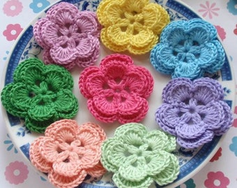 8 Crochet Flowers In Lomen, Lt Purple, Green, Pink, Lt Green, Lavender, Blue, Bubble gum Pink, YH-005