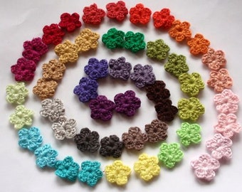 50 Mini Crochet  Flowers In Multicolors  YH-055-02 On Sale