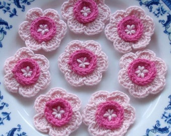8 Crochet  Flowers In Lt Pink, Hot Pink YH - 051-01