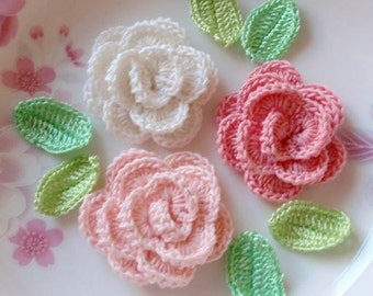 3 Crochet  Roses With Leaves YH - 065-01