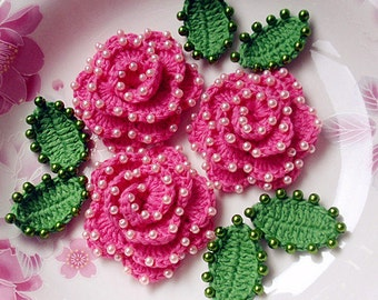 3 Crochet Flower With Pearls YH-072-01