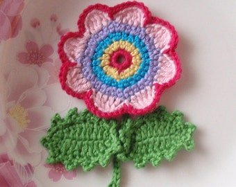 Crochet Flower With Leaves In Multicolor YH-073-05