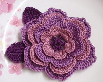 Crochet Flower (3-1/4 inches) With Leaves  YH-123-02