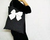 Black White Polka Dot Bridesmaid Totes Made of Honor Bridesmaids Gift