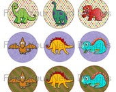 "Dinosaur 1"" Circle digital images for Bottlecaps, Scrapbooking, Stickers, Magnets, Cupcake toppers, Hair Bow Centers, Instant Download"