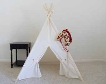neutral Kids Tent with Door Ties Teepee Play Tent Tipi Wigwam or Playhouse  Muslin Teepee Pictured in Unbleached