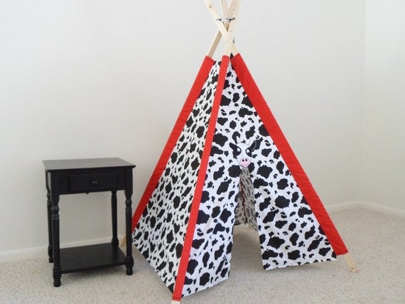 Cow print teepee, Kids Tent, Play Tent, Tepee, Play fort, Children's Tent with Cow applique