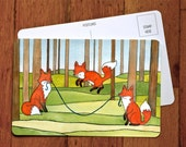 Foxes  Art Postcard -Foxes Greeting Card - Fox A6 Card from original watercolor painting