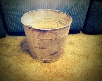 Vintage Galvanized Metal Flower Market Pail Bucket