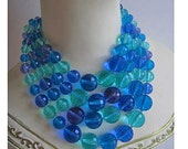 Blue Bead Necklace and Earrings Set Vintage