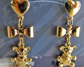 Gold Trifari Earrings Teddy Bear Pierced Vintage 80's