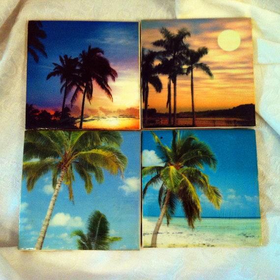Palm Tree Tile Coasters - Beach Coastal inspired Nature of Seaside