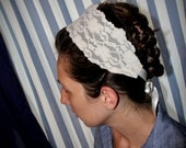 Ivory or beige Lace Headcovering/Band
