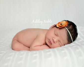 baby headband, baby girl headband, Orange headband photo prop newborn photography accessories baby photography props