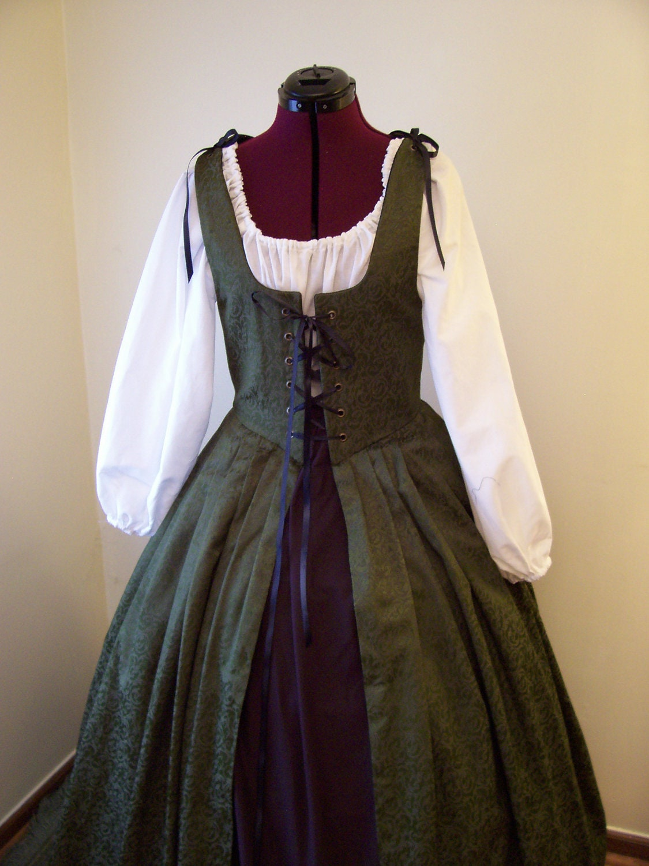green renaissance gown dress overdress costume sca garb ready