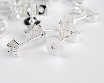 Silver Earring Posts, 6 mm Glue Pad, With Clutch -  50 pieces (FS-007)