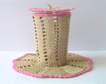 Crochet for Covering a Glass - Pink and Natural Beige Cotton - Handmade