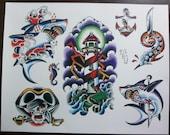 Nautical Traditional Tattoo Flash Sheet