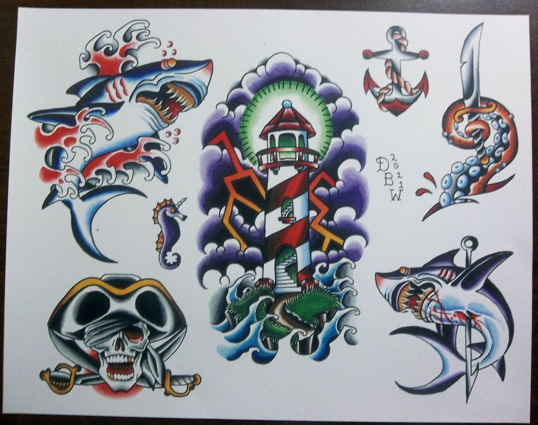Nautical traditional tattoo flash sheet for Traditional tattoo flash
