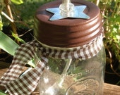 Rustic Mason Jar Oil Lamp with Metal Star - CraftyCutiesbyDesign