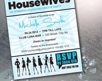 Bravo The Real Housewives Inspired DIY Printable Invitation and RSVP Card with Rush Service