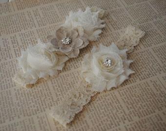 Burlap Wedding Garter, Cream Lace Garter, Cream and Burlap Garter