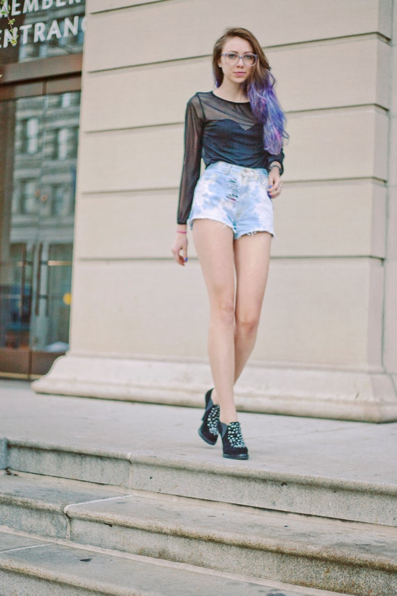 FLASHSALE Distressed and Studded Tie Dyed Blue High Waisted Shorts