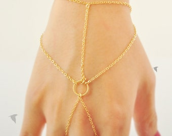 Simple Cable Chain With Round Link Center, Gladiators Bracelet Hand Bracelet Finger Bracelet Slave Bracelet