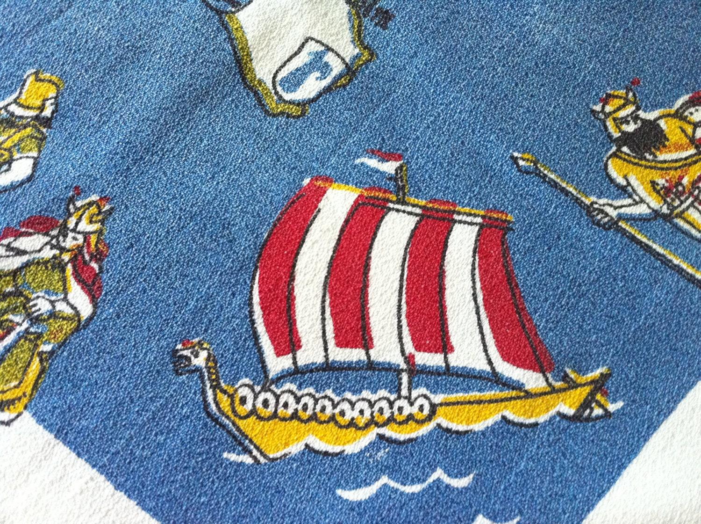 Vintage Tablecloth Viking Ship Warrior Princess DENMARK Map