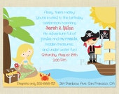 SALE - Mermaids and Pirates Themed Birthday Party - Twins - Boys and Girls - Printable Invite - DIY Invitation - You Print