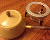 Vintage 60's or 70's Fondue Pot - Mustard Color with Dark Wood Legs